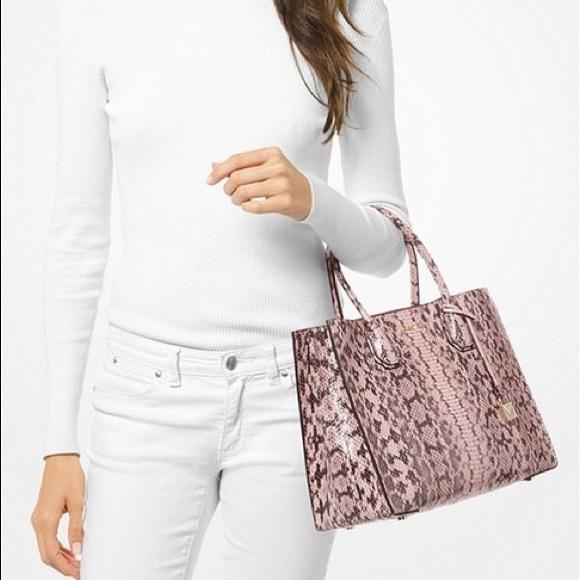 579d9f1ccbb6 Michael Kors Bags | Nwt Mercer Large Snakeskin Pink Tote | Poshmark